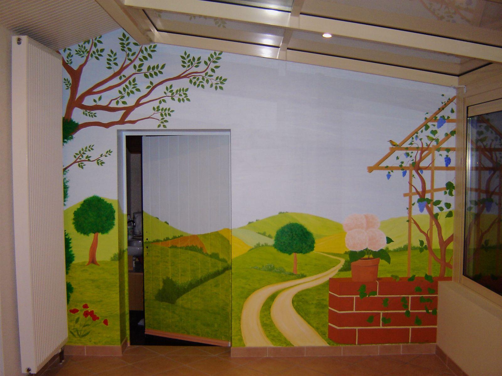 Fresque murale peinture acrylique trompe l 39 oeil d coration for Style de peinture murale